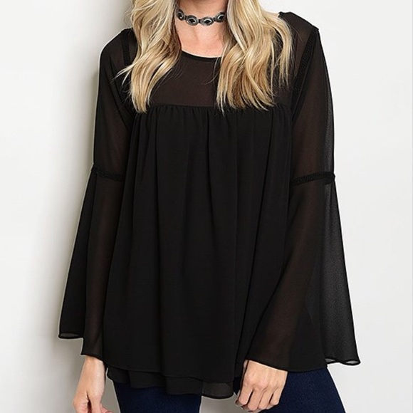 "Tops - Loose ""Chiffon"" Bell Sleeve Blouse"